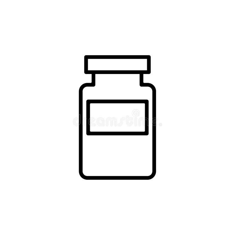 Bootle delle droghe ha isolato l'icona Illustrazione ENV 10 di vettore Bootle dell'icona del profilo delle medicine illustrazione di stock