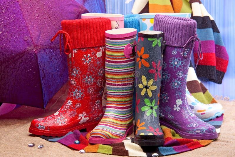 boots цветастая женская резина стоковое фото rf