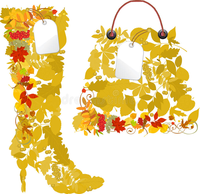 Boots and bags from autumn leaves. vector illustration