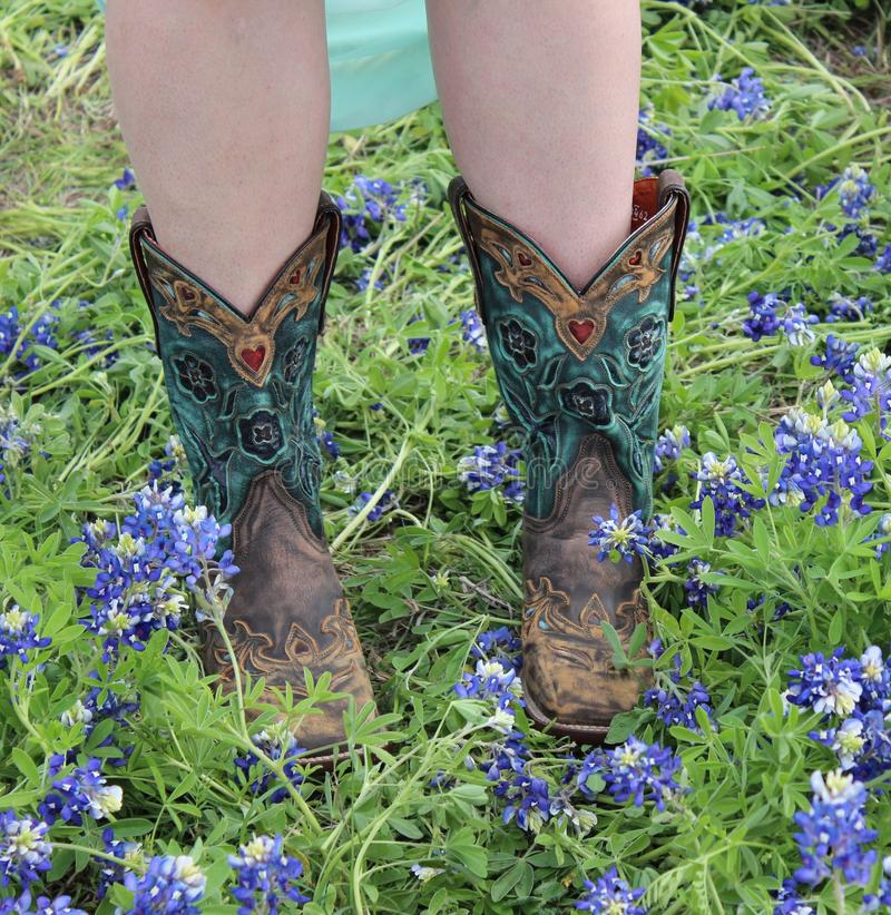 Boots and Bluebonnets royalty free stock photography
