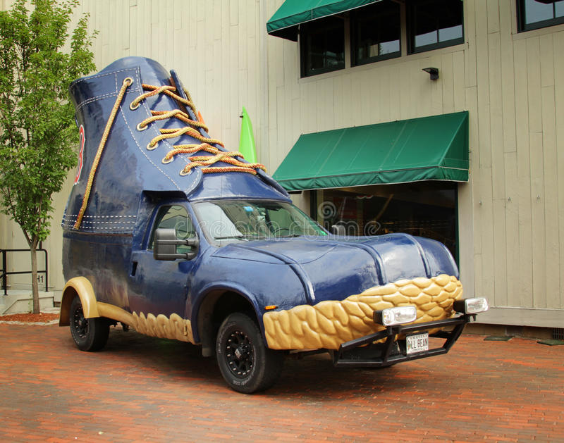 Boots Car. FREEPORT, MAINE, august 31 2014: L.L.Bean bootmobile. Promotional truck use by L.L.Bean, leading merchant of quality outdoor gear and has been open 24 stock images