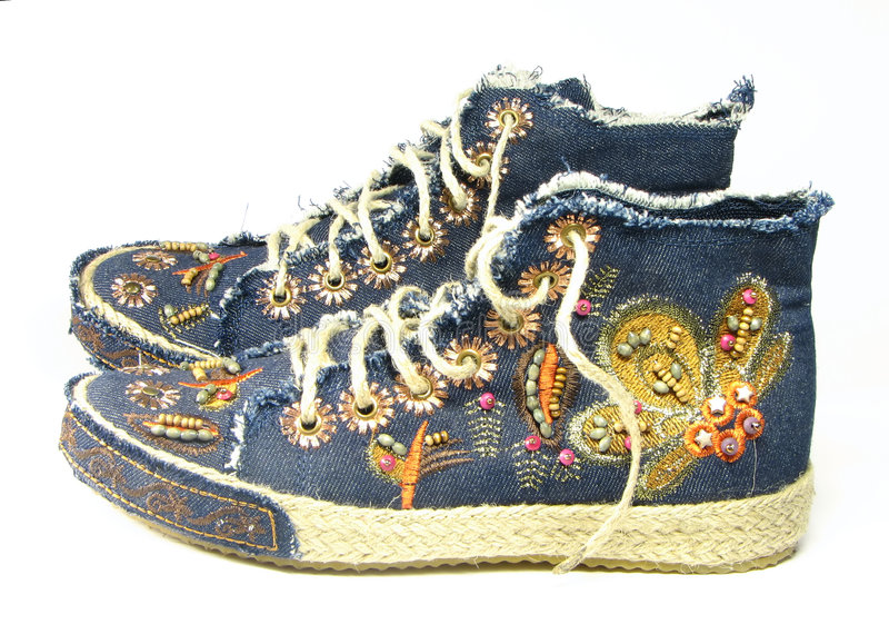 Boots with an embroidery. royalty free stock images