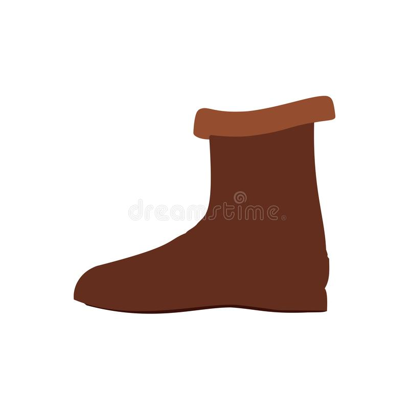 Boots footwear casual clothing pair symbol vector icon. Closeup brown equipment model shoe western side view royalty free illustration