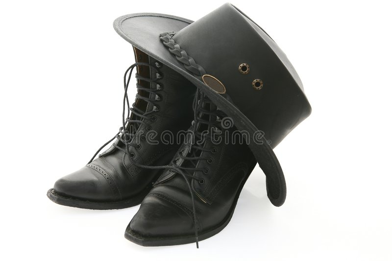 Boots and hat stock images