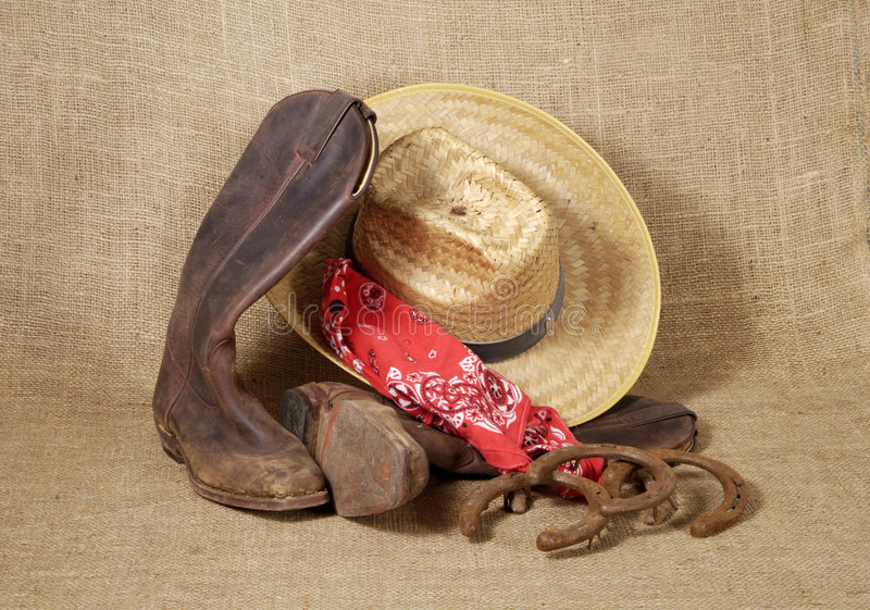 Boots, hat and Horseshoes 3 stock photos