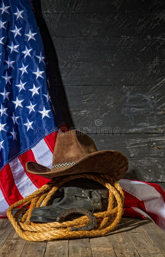 Boots hat lasso royalty free stock image
