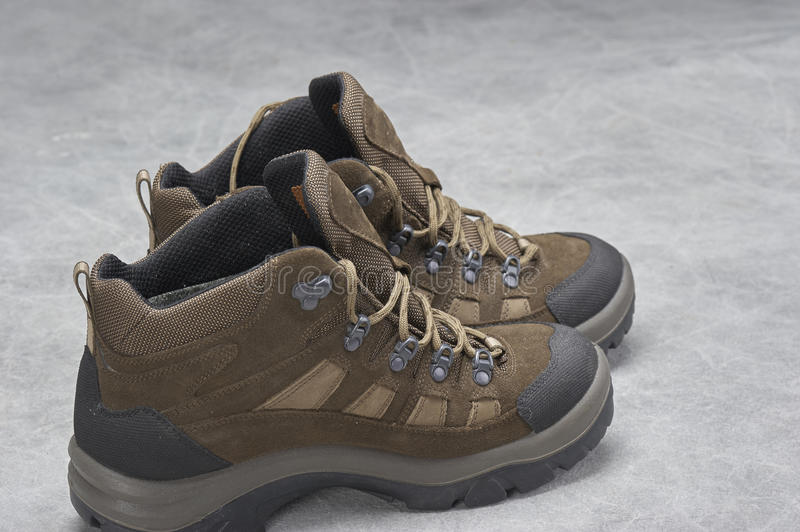 Boots(hiking). Pair of brown, ankle high hiking boots stock photography
