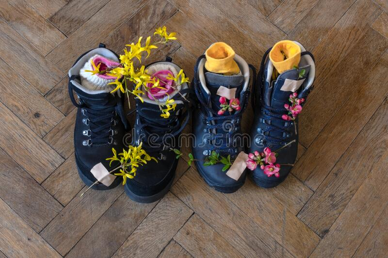 Boots hiking tracking top view pink flower adhesive tape spring patch wooden floor background. Two pair of boots for hiking stand on the wooden floor. Top view stock image