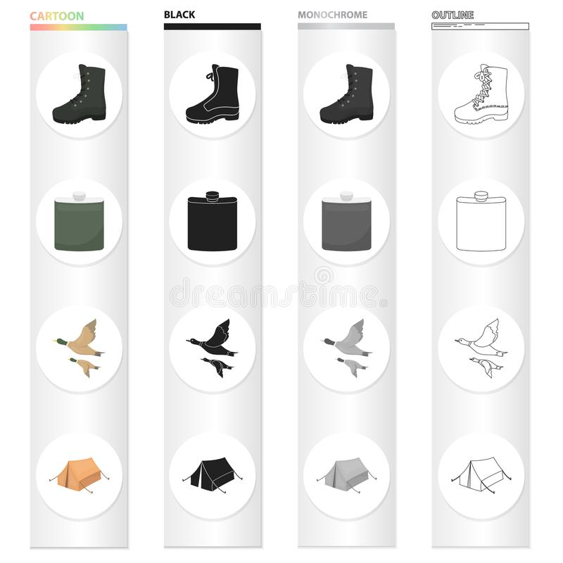 Boots, a hunting flask, a flight of ducks, a tent for rest. Hunting set collection icons in cartoon black monochrome. Outline style vector symbol stock royalty free illustration