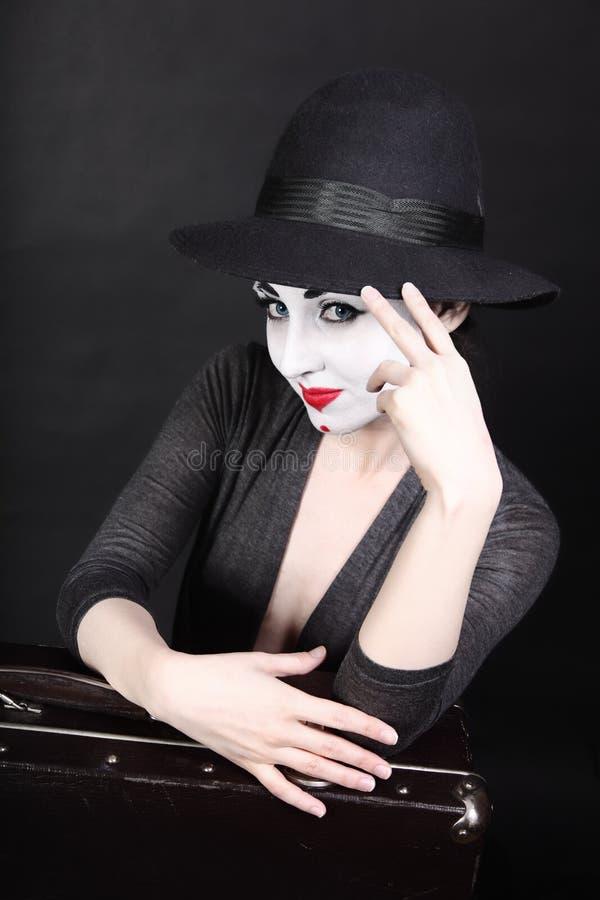 Boots kunstenaar met theatrale make-up na stock foto