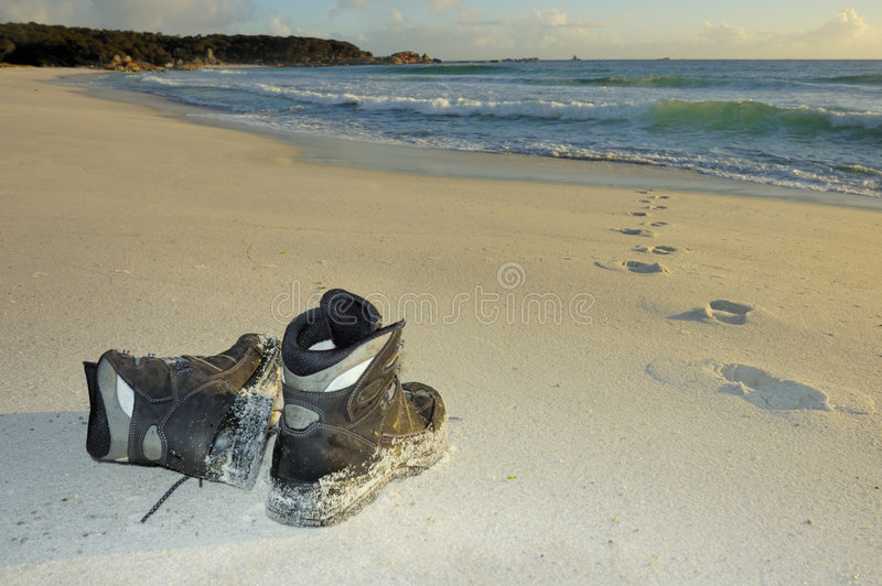 Download Boots left on the beach stock photo. Image of sand, mystery - 5645286