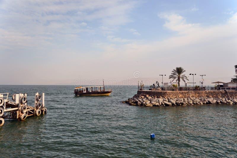 Boots-Meer von Galiläa nahe Tiberias Israel stockfotografie