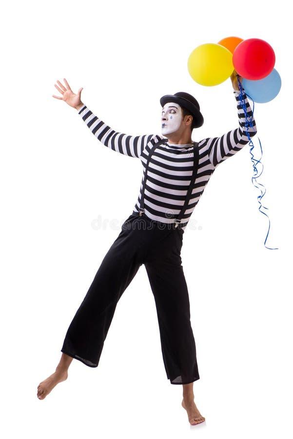 Boots met ballons na op witte achtergrond worden geïsoleerd die royalty-vrije stock afbeeldingen