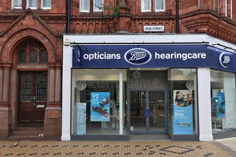 Boots Opticians and Hearingcare. HUDDERSFIELD, UK - JULY 10, 2016: Boots Opticians and Hearingcare in Huddersfield, UK. Boots UK is a high street pharmacy chaing stock photo