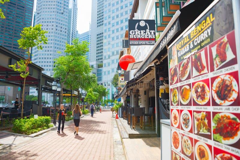 Boots-Quay-Restaurantstraße Singapur lizenzfreie stockbilder