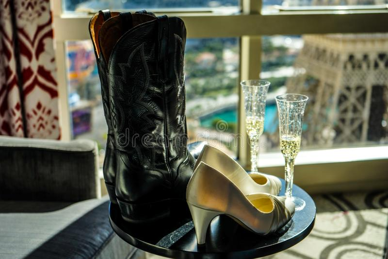 Boots and Shoes with Champagne stock image