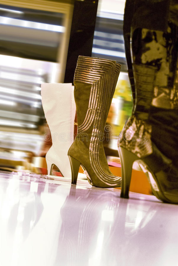 Boots in a shop royalty free stock photo