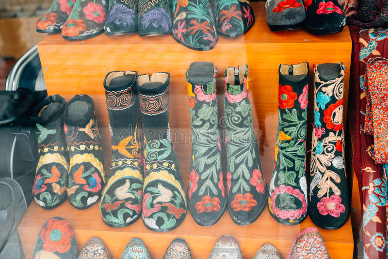 Boots in a souvenir store. Boots with traditional decorations in a souvenir store in Istanbul, Turkey royalty free stock photo