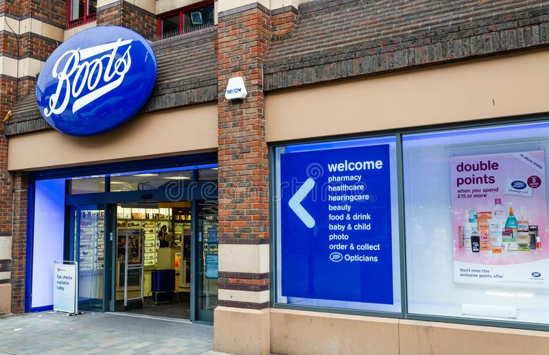 Boots store entrance stock images