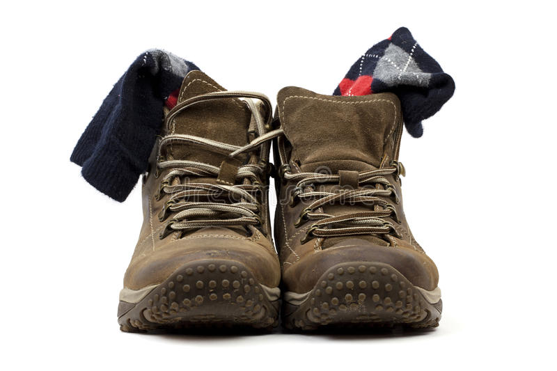 Boots after walking royalty free stock image