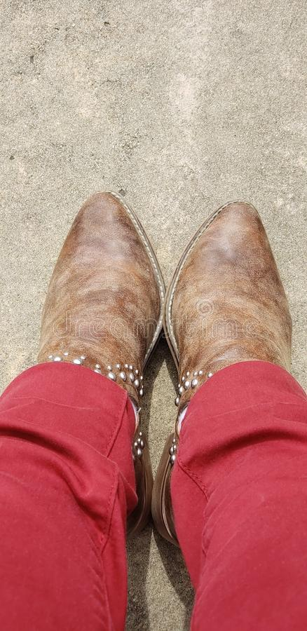 These Boots were made to shine and give me Feet royalty free stock image