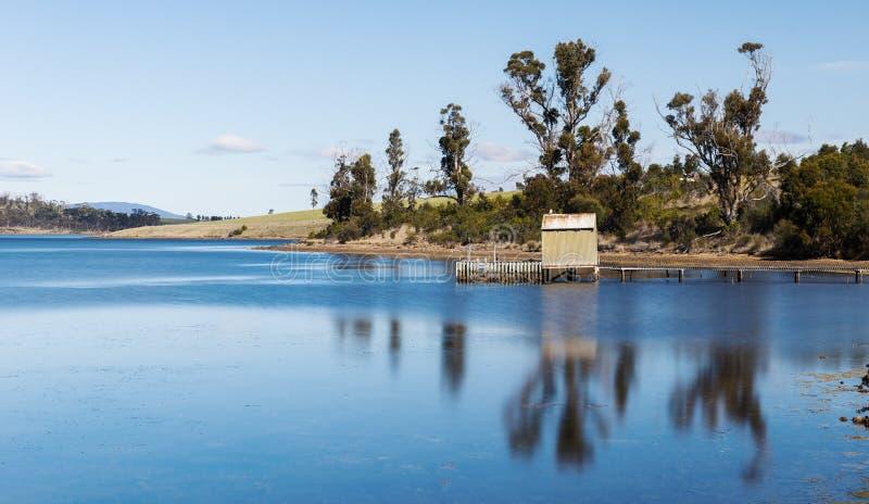 Bootsanlegestelle gefunden auf Bruny-Insel in Tasmanien, Australien lizenzfreie stockfotos