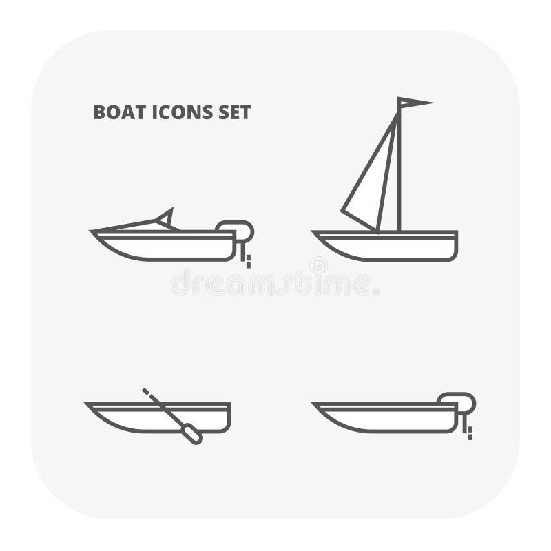 Bootsikonen eingestellt Flache Illustration von 4 Ozeanwassertransport-Vektorikonen für Netz lizenzfreie abbildung