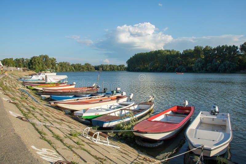 Bootskai auf Tisa-Fluss in  Novi BeÄ ej lizenzfreie stockbilder