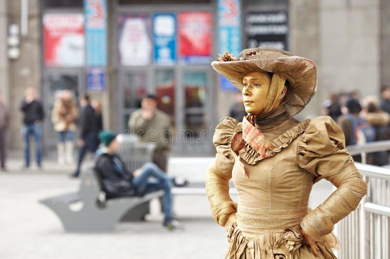 Bootst na en het leven standbeelden royalty-vrije stock fotografie