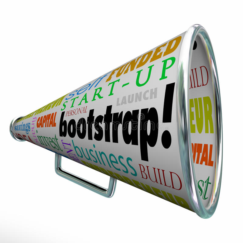 Bootstrap Bullhorn Megaphone Startup Launch Personal Funding Fin vector illustration