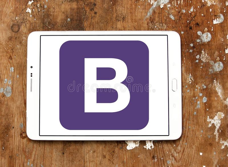 Bootstrap website logo. Logo of Bootstrap website on samsung tablet. Bootstrap is a free and open source front end library for designing websites and web stock images