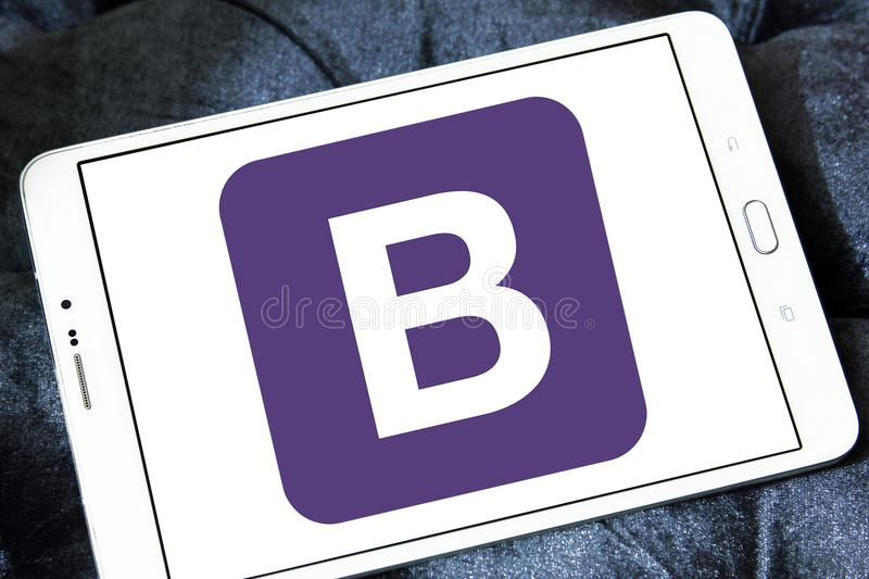 Bootstrap website logo. Logo of Bootstrap website on samsung tablet. Bootstrap is a free and open source front end library for designing websites and web stock photos
