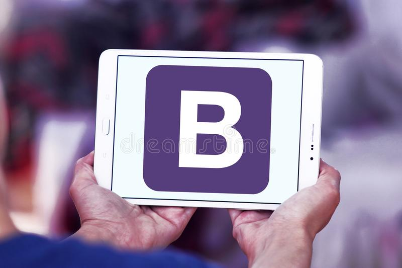 Bootstrap website logo. Logo of Bootstrap website on samsung tablet. Bootstrap is a free and open source front end library for designing websites and web royalty free stock photos