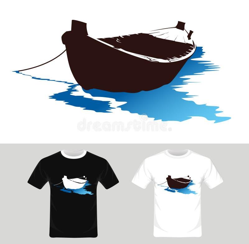 Bootvector - T-shirt grafisch ontwerp met boot royalty-vrije illustratie