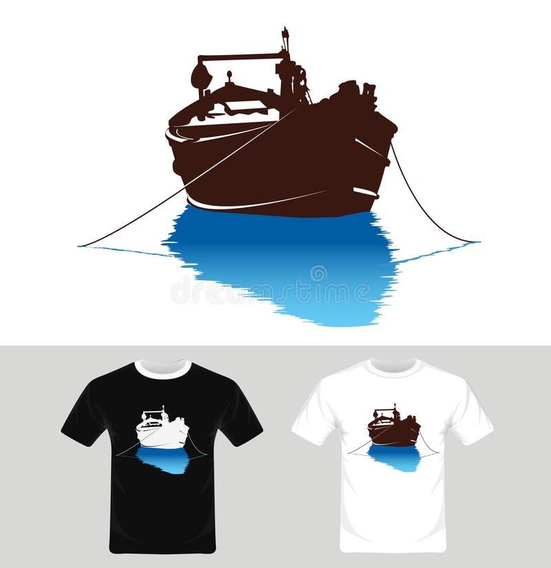Bootvector - T-shirt grafisch ontwerp met boot vector illustratie