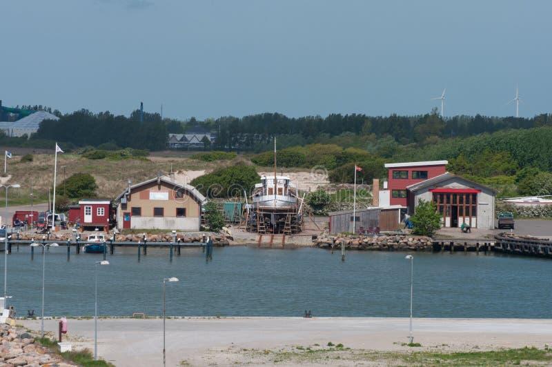 Bootwerf in Rodbyhavn in Denemarken stock foto