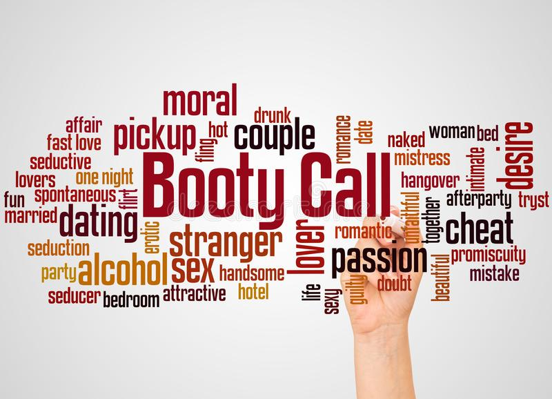 Booty call word cloud and hand with marker concept stock image