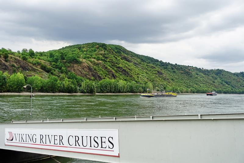 Rhine River with Viking River Cruises sign on gangway. stock photo