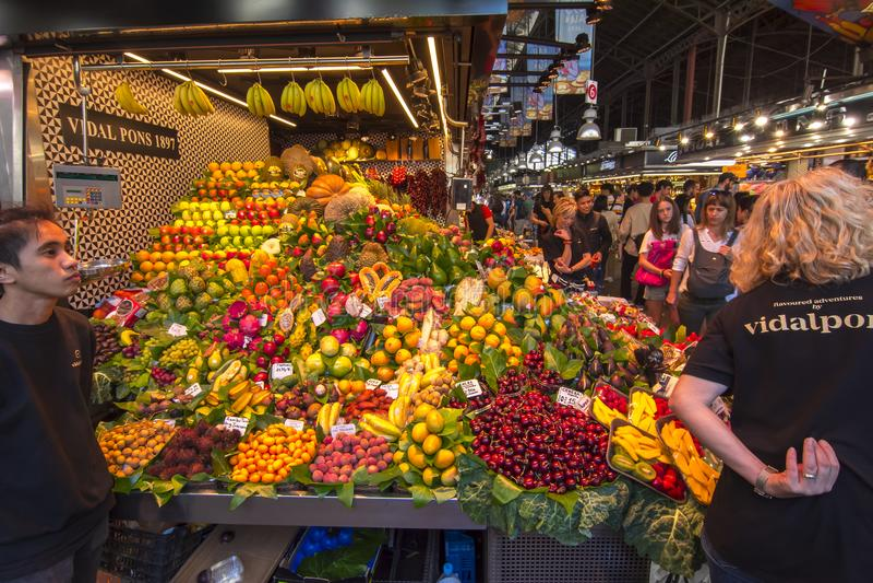 Boqueria market Mercat de la Boqueria on La Rambla street in Barcelona, Spain stock photo