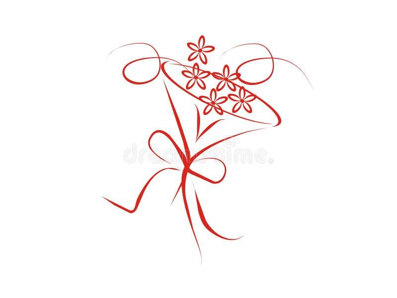 Boquet de la boda con las flores stock de ilustración