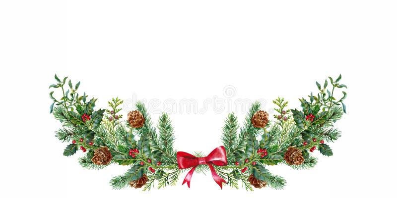 Boquet do Natal com visco e abeto vermelho watercolor ilustração stock