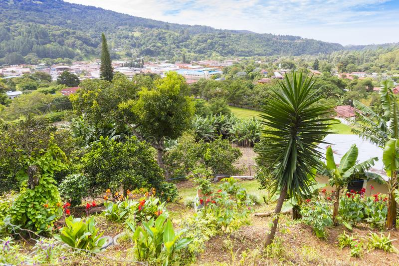 Panorama of bajo boquete in the province of Chiriqui Panama. Boquete August 2017: In August many visitors find accommodation in this mountain village that use as royalty free stock photos