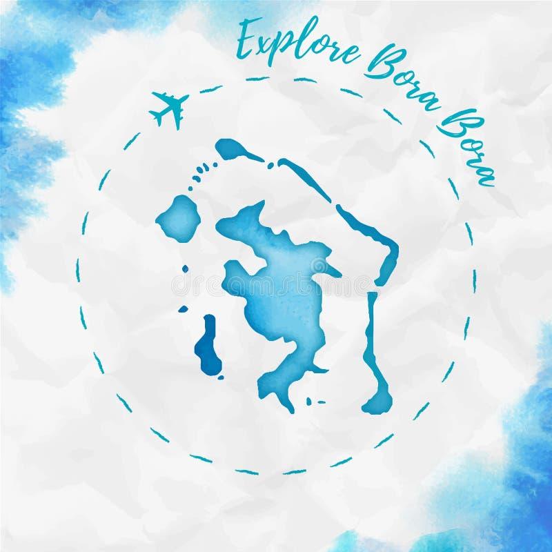 Bora Bora-Aquarellinselkarte im Türkis lizenzfreie abbildung