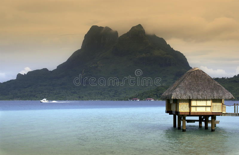 Bora Bora in French Polynesia. Bora Bora in the Society Islands of French Polynesia in the South Pacific stock photo