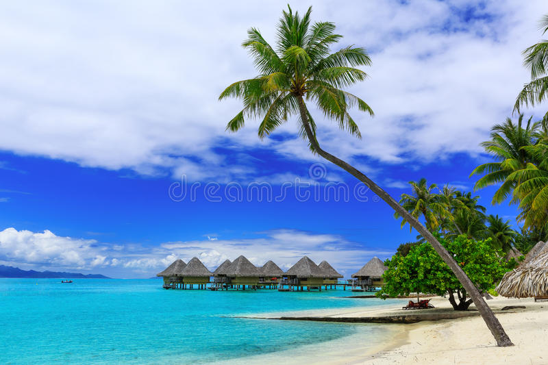 Bora Bora, French Polynesia. Over-water bungalows of luxury tropical resort, Bora Bora island, near Tahiti, French Polynesia, Pacific ocean stock image