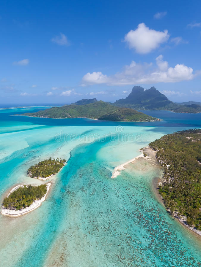 Bora bora from helicopter royalty free stock images