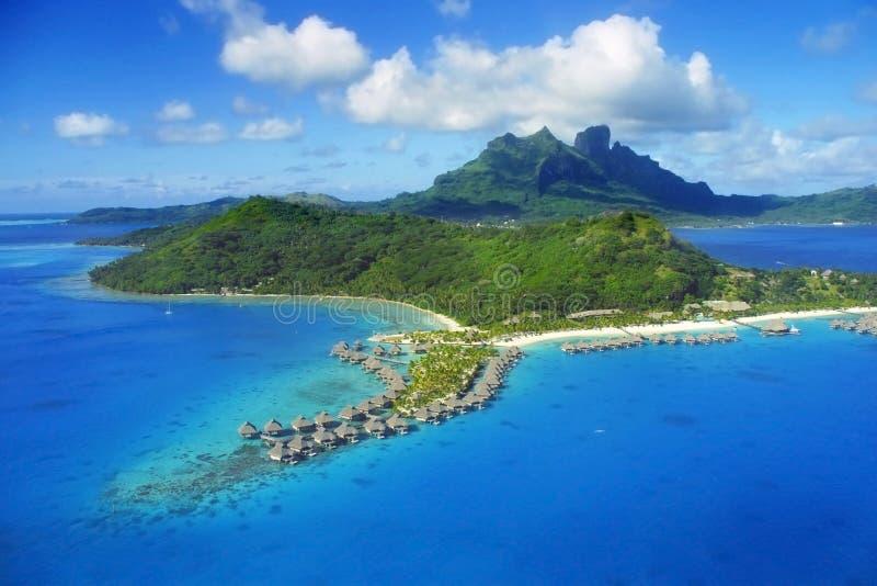 Bora Bora Island. Aerial View of Bora Bora with Toopua Island and over water bungalows stock photography