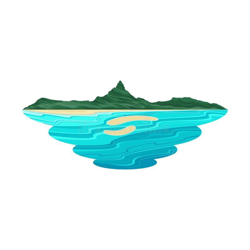 Bora Bora Island Beach and Lagoon Landscape. Vector stock illustration