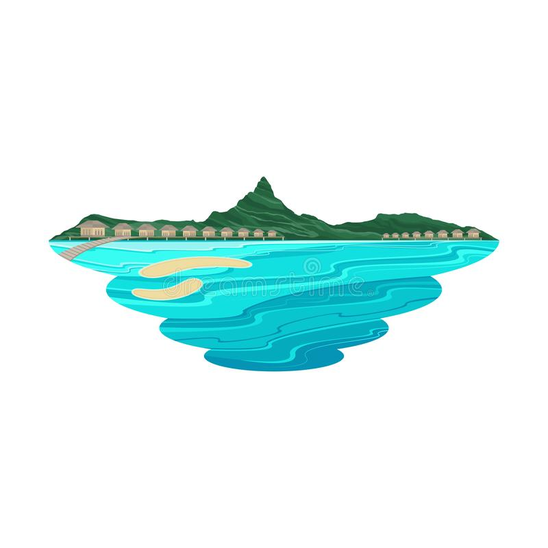 Bora Bora Island Beach Lagoon and Resort Landscape. Vector vector illustration
