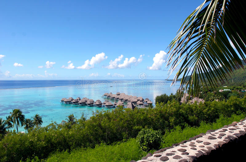 Bora Bora seaside resort stock photo